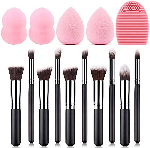 10pcs Cosmetic Brushes with 4pcs Make Up Eggs and 1pcs Silicone Brush Cleaner product image