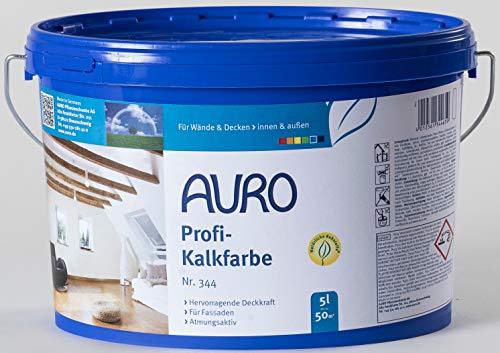 AURO Profi-Kalkfarbe Nr. 344 - 5 Liter dampfdiffusionsoffen, Vorbeugung gegen Schimmelbefall, geruchsabsorbierend, gute Haftung auf mineralischen Untergründen (Raufaser, Gipskartonplatten oder Lehm)