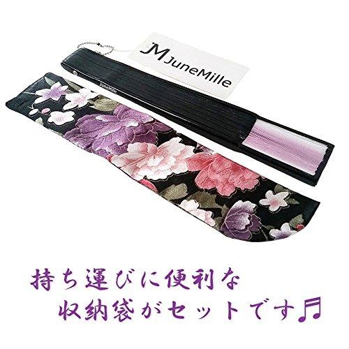 JuneMille 扇子 扇子袋 2点セット シルク 桜 花柄 竹 桜吹雪 JM-05 しだれ桜 : ピンク 2
