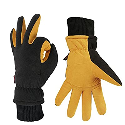 Winter Work Gloves Cold Proof Warm Ski Glove for Driving Cycling Hiking Snow Skiing - Deerskin Suede Leather Insulated Polar Fleece Waterproof Windproof Hand Warmer for Men and Women Tan-Black Medium