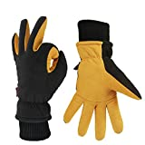 Insulated Work Gloves Cold Proof Thermal Winter Glove for Driving Cycling Hiking Snow Ski - Deerskin Suede Leather Warm Polar Fleece Waterproof Windproof Hand Warmer for Men and Women Tan-Black Large
