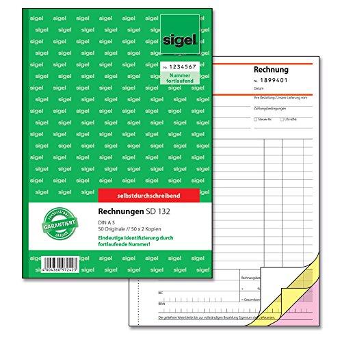 Sigel SD132 Rechnung fortlaufend nummeriert, A5, 3x50Blatt, selbstdurchschreibend