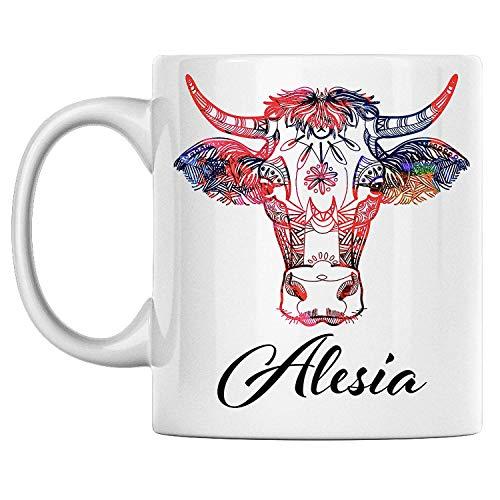 N\A aza de Vaca Personal con Nombre Alesia Taza de café de cerámica Blanca Impresa en Ambos Lados, cumpleaños para él, Ella, niño, niña, Esposo, Esposa, Hombres y Mujeres