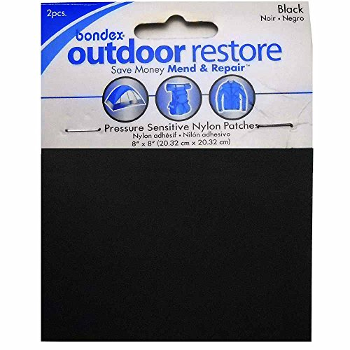 RPDIYME 2 Bondex Pressure Sensitive Nylon Outdoor Repair Patches 8 x 8 in - Black
