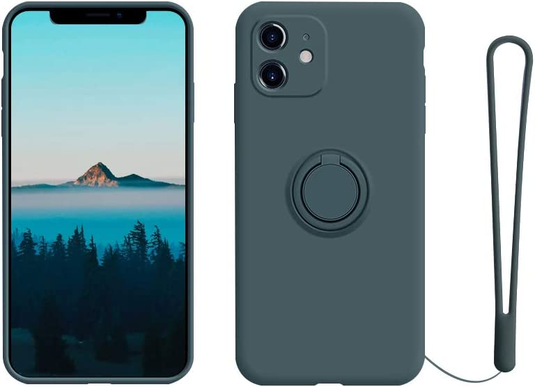 Dark Forest Silicone Rubber iPhone 11 Case with Finger Ring Holder Full Body Protection with Hand Strap Support Car Mount