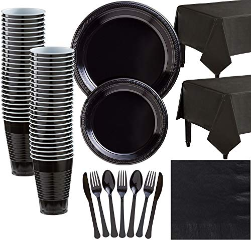 Amscan Lavender Plastic Tableware Kit for 50 Guests, Party Supplies, Includes Table Covers, Plates, Cups and More