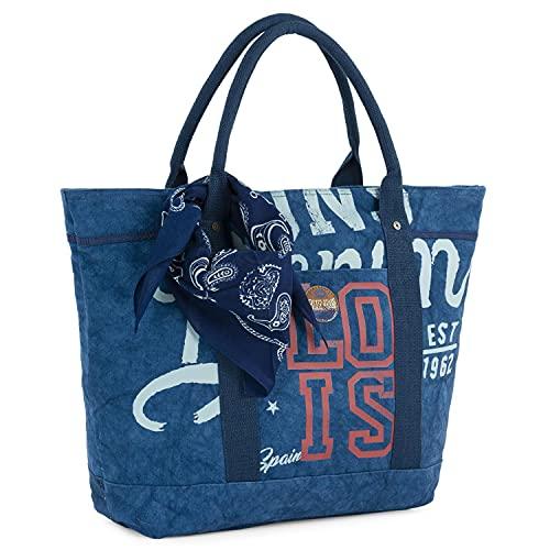 Lois - Bolso de Mujer Shopping Grande con Pañuelo a Conjunto Incluido. Lona Estampada. Ideal para Viaje Compras o Playa. Amplio, Funcional y Cómodo. 91203, Color Unico