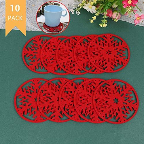 TIANTIAN Tianan, 10 sottobicchieri riutilizzabili a Forma di Fiocchi di Neve Natalizi, per cene di Natale, Colore: Rosso