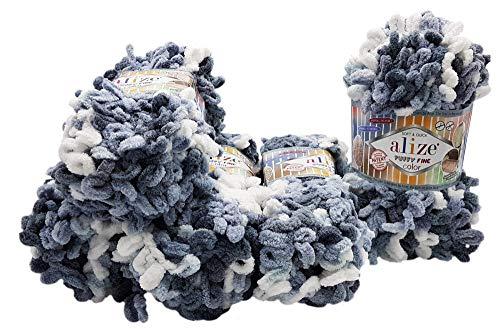 Alize Puffy fine 5 ovillos de lana de 100 g, 500 gramos para tejer dedos, multicolor, sin aguja,...