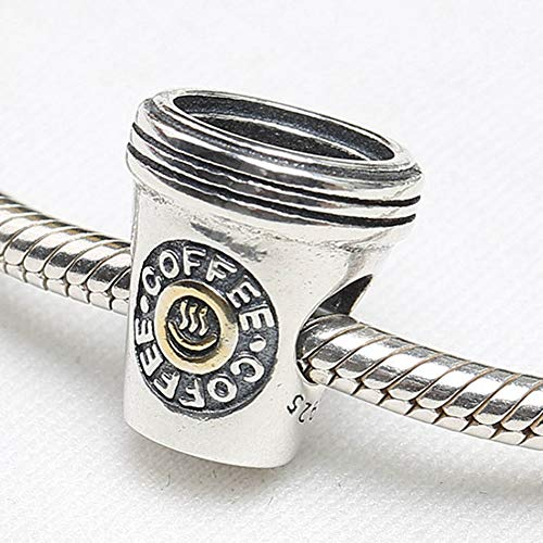 YDMZMS Authentische S925 Sterling Silber DIY Schmuck Kaffee Charm fit Lady Armband Armreif