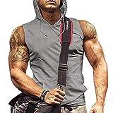 Mens Gym Tank Tops Workout Hoodie Sleeveless Workout Shirts GreyVest Grey M