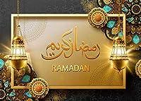 写真の イスラムの背景のためのZhyゴールデンラマダン背景 7x5ft / 2.1x1.5m パーティーの装飾用品の写真撮影の小道具BJQQST92