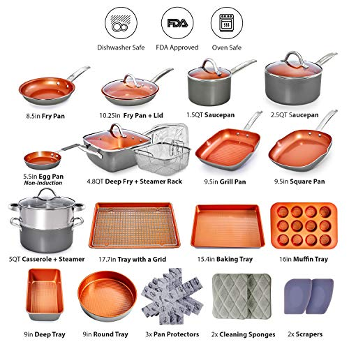 Home Hero Copper Pots and Pans Set -23pc Copper Cookware Set Copper Pan Set Ceramic Cookware Set Ceramic Pots and Pans Set Nonstick Induction Cookware Sets Pot and Pan Set Nonstick Cookware Set