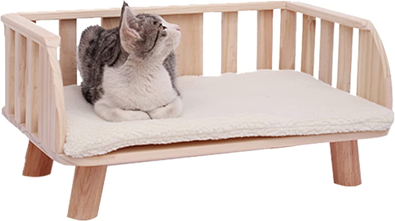 MOHAN Wooden Cat Sofa Bed 40×60cm for Large Cats Wood Dog Bed Sofa Pet Bed Sofa with Fleece Cushion : Pet Supplies