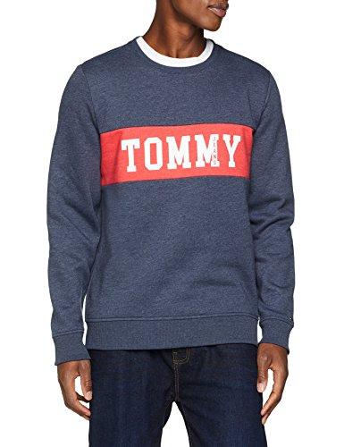 Tommy Jeans Herren Panel Logo Langarm Sweatshirt Langarmshirt Blau (Black Iris 002) XX-Large