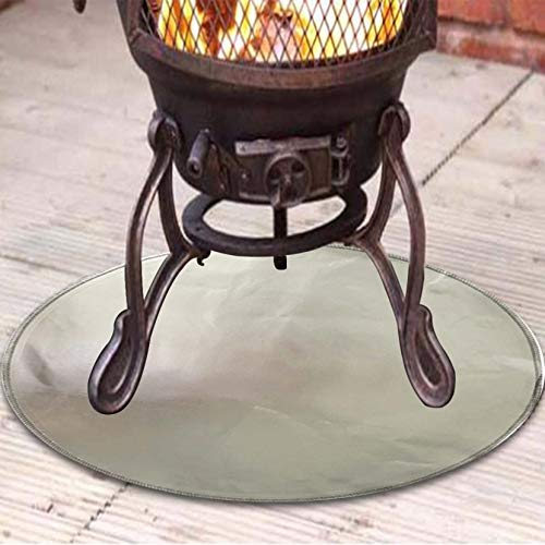 Fireproof Mat for Fire Pit, Fire Pit Mat & Grill Mat Fireproof Fire Pad 24' x24' Round Deck Protector Heat Resistant Durable Material Prevent Your Floor Patio Lawn from Damaged by High Temperature