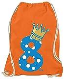 Hariz - Bolsa de deporte, diseño de corona de príncipe 8 cumpleaños (incluye tarjeta de regalo), naranja (Naranja) - AchterGeburtstag42-WM110-8-1