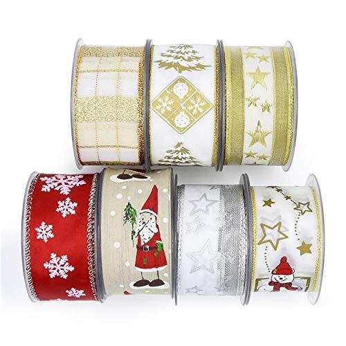 Cinta Raso DIY Manualidades Grosgrain Ribbon Artesanías Decoración Envoltura de Flores Regalo Cintas de Craft Ribbon Cinta navideña 10m-mezcla