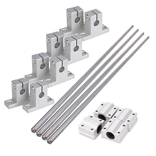CNBTR Horizontale 8mm Dia Linear Motion Kugellager Gleitbuchse & 500mm Linear Welle Optical Axle mit Rod Rail Support Pack von 16