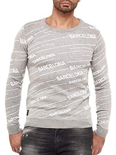 Redbridge Suéter de Punto Fino Jersey Design Barcelona para Hombre Gris L