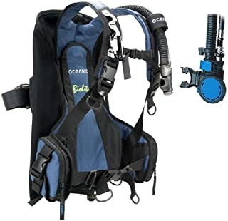 Oceanic New BioLite Travel Scuba Diving BCD with Air XS 2 Alternate Air Inflator Regulator Installed on BCD - Blue (Size Medium)