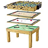 5-in-1 Combo Multi Game Table Set: Combination Game Table with Billiards, Foosball, Push Hockey, Shuffleboard and Bowling Table at Home or Game Room, Rec Room, Parties for Family Children Adults