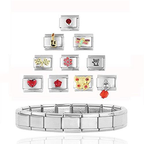 Akkki Italian Charms Armband Classic Silber italy gold Edelstahl Links glider Kult modele Blume tiere Herz Basisarmband 9mm/18 Glieder matt Farbe kompatibel mit Original strass stein Zirkonia Rot