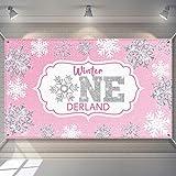Tatuo Bandera de Fondo de Invierno de Onederland Fondo Platado Rosado de Fotografía de Copo de Nieve Decoraciones de Fiesta de Primer Cumpleaños de Navidad para Niñas Suministros para Fiestas