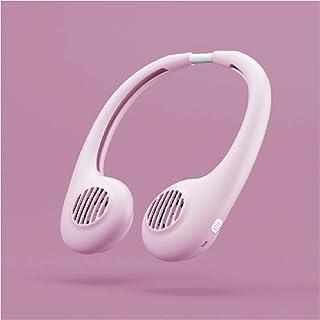 Ventilador de pared sin pala, portátil, portátil, mini eléctrico, USB, ventilador mini portátil recargable con doble cabezal de 3 velocidades para viajes rosa