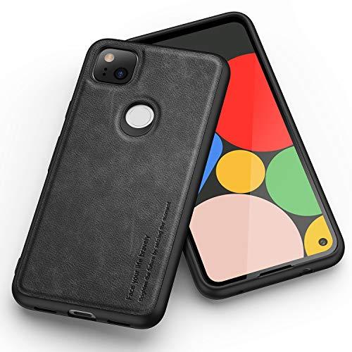 Kqimi Hülle für Google Pixel 4A, Premium Leder Slim Stilvolle Soft Grip Stoßfeste Anti-Kratzschutz Schutzhüllen für Google Pixel 4A (5.81 inch) 2020 (schwarz)