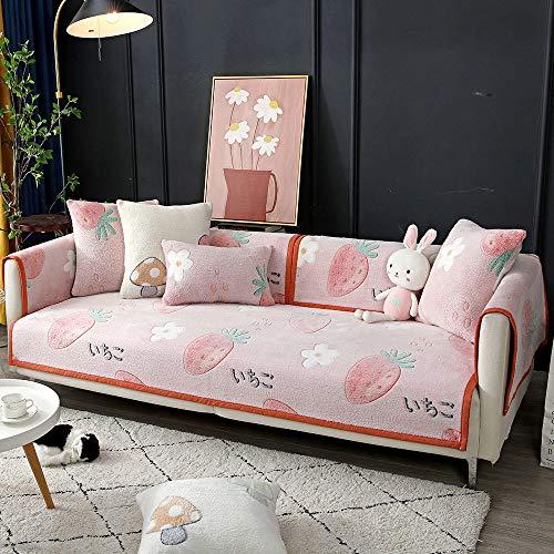 YUTJK Funda de sofá de Esquina,Fundas de Asiento de sofá de Tela para Sala de Estar,Funda Protectora de Muebles,Funda de sofá de Terciopelo para habitación Infantil,para Dormitorio,Fruta 2_110×110cm