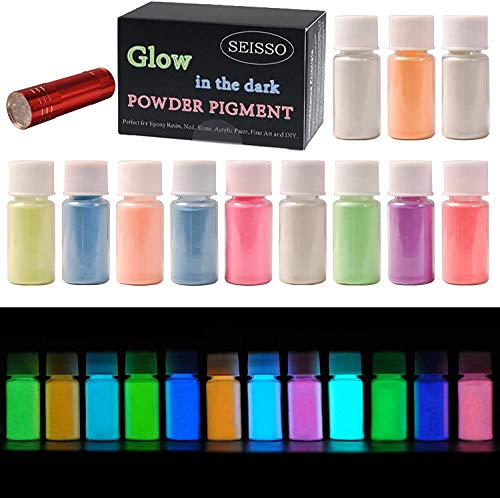 DEWEL 12er × 20g Fluoreszierendes Pulver, Leuchtpulver Set mit UV Lampe, Epoxidharz Leuchtpulver Selbstleuchtend Nachtleuchtende Pigmente UV Glühpulver Leuchtpulver Leuchten im Dunkeln