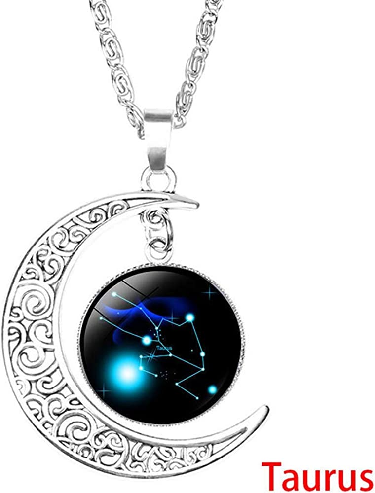 Astrology Chain Necklace Pendant Jewelry Set Gift for Women Mom Wife Girls Birthday Valentines Day Earrings Bracelet Gift Set 12 Constellation Crescent Moon Necklace