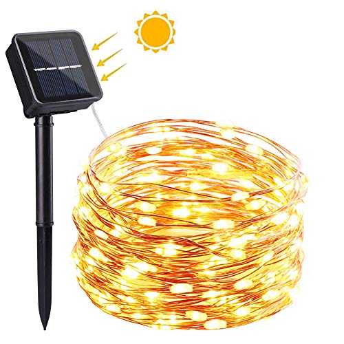 NEXVIN Solar Fairy Lights Outdoor, (100 LED 8 Modes) Solar Christmas Lights, 33ft/10m Copper Wire Solar Garden Lights String, Waterproof for Christmas, Tree, Garden, Home, Wedding, Party (Warm White)