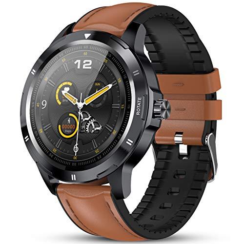 GOKOO Reloj Inteligente Hombres Smartwatch Reloj Deportivo Inteligente Información Notificación Pantalla Táctil Completa Smartwatch Impermeable IP68 Compatible con Android iOS (marrón)