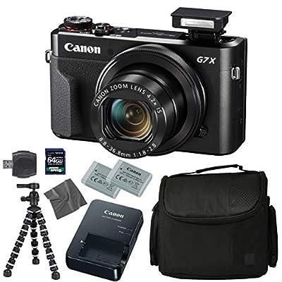 Canon PowerShot G7 X Mark II: Digital Camera + 64GB 4K 1200X SDXC Card + Pro Case + 2X NB-13L + Canon CB-2LH + WS-DC12 Strap + Flexible Tripod + AOM Microfiber Cleaning Cloth: International Version by AOM