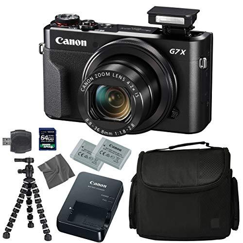 Canon PowerShot G7 X Mark II: Digital Camera + 64GB 4K 1200X SDXC Card + Pro Case + 2X NB-13L + Canon CB-2LH + WS-DC12 Strap + Flexible Tripod + AOM Microfiber Cleaning Cloth: International Version