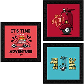 SAF Set of 3 motivational quotes UV Textured Synthetic Frame Painting Home Decorative Gift Item 10 Inch X 30 Inch SANFQT31475