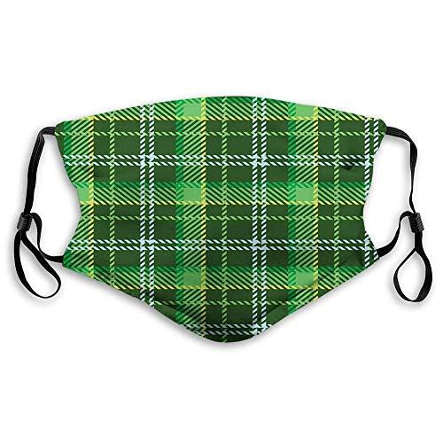 AOTISO Comfortabel bedrukt masker, groene, Schotse nostalgische schotse ruit met banden Engels retro Brits ontwerp, smaragdgroen geel