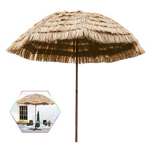 Aly Sombrilla Redonda Ø 10 pies / 3 m, Parasol de Paja Tropical de Playa Hawaiana, Patio Jardín Hawaii Paraguas (Color Natural)