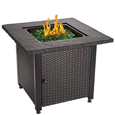 """Endless Summer 30"""" Outdoor Propane Gas Rock Top Fire Pit (Green Fire Glass)"""