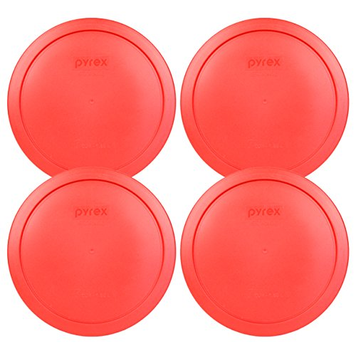 Pyrex 7402-PC Red Round Storage Replacement Lid Cover fits 6 & 7 Cup 7' Dia. Round (4-Pack)