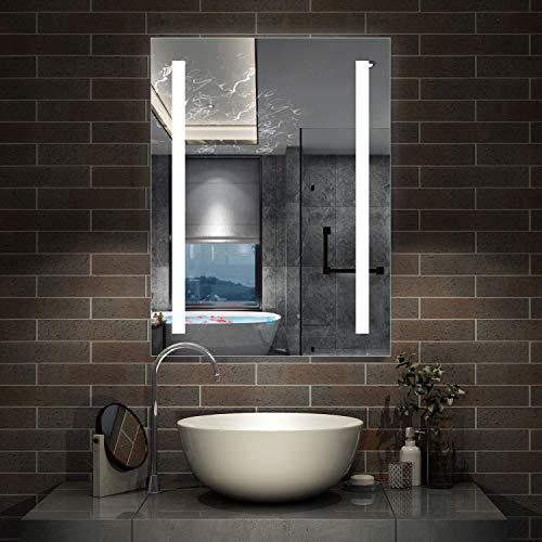 AicaSanitär LED Bad Spiegel 50×70cm Badspiegel mit Beleuchtung Lichtspiegel Badezimmerspiegel Dekorative Wandspiegel Touch-Schalter Antibeschlag IP44 Kaltweiß energiesparend