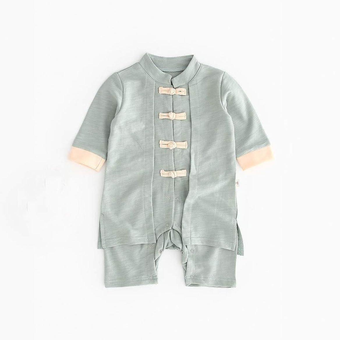 旅行売上高言い換えるとかわいいボタン漢風生まれたばかりの赤ちゃん男の子女の子ボタン固体ロンパースジャンプスーツ着物服パジャマ女の子男の子レターストライプ長袖コットンロンパースジャンプスーツ