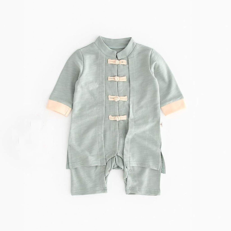 焦げ強大な価値のないかわいいボタン漢風生まれたばかりの赤ちゃん男の子女の子ボタン固体ロンパースジャンプスーツ着物服パジャマ女の子男の子レターストライプ長袖コットンロンパースジャンプスーツ