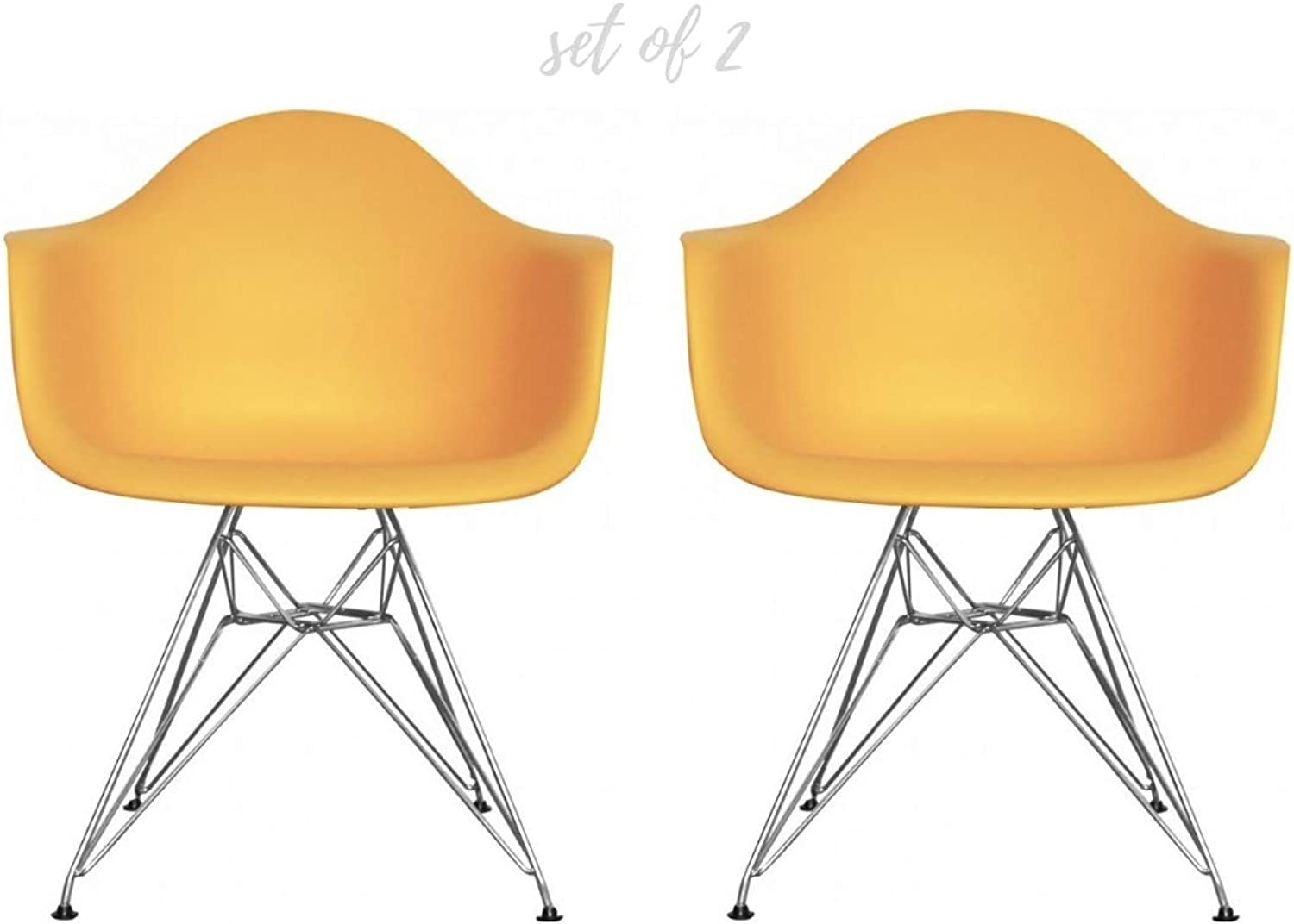 Take Me Home Furniture Eiffel Style Bucket Chair with Chrome Legs, Yellow, Set of 2, Dining Chair
