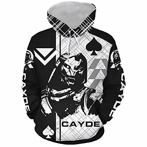 Cayde 6 Hoodie Pullover Sweatshirt Game Cosplay Costume for Unisex (Large, Black)