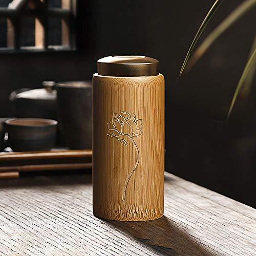 ZWSHOP Fait à la main Bamboo Tea Caddy, boîtes de thé Sealed, stockage portable réservoir, joint étanche à l'humidité, Kung Fu Tea Set Accessoires 15.5x7cm