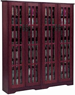 Leslie Dame M-954DC High-Capacity Inlaid Glass Mission Style Multimedia Storage Cabinet, Cherry