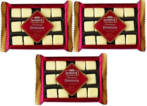Lambertz Domino Steine umhüllt von Weißer Schokolade doppelt gefüllt 3er Set (3x150g Packung)